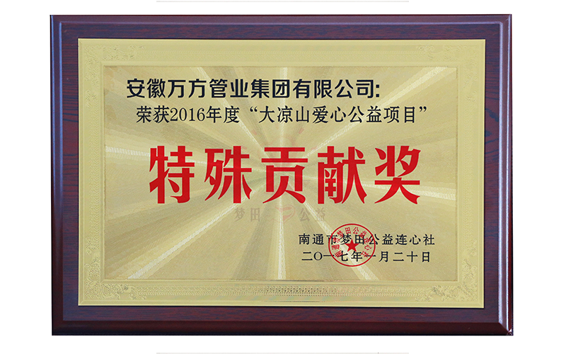 "2016 special contribution award of ""Daliang Mountain love public welfare project"""